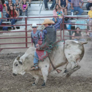 Rodeo Bull rider at the Ford County Fair in Melvin, Illinois